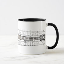 Vintage Guitar with Sheet Music  - Mug