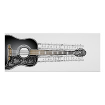 Vintage Guitar with Sheet Music  - Poster Print