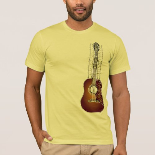Vintage Guitar with Sheet Music - T shirt