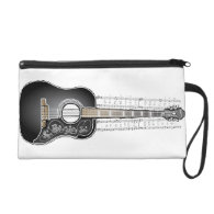 Vintage Guitar with Sheet Music Wristlet