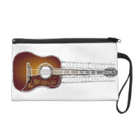 Vintage Guitar with Sheet Music Wristlet Purses