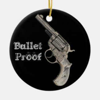 Vintage Gun Bullet Proof or any text Double-Sided Ceramic Round Christmas Ornament