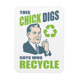 Vintage Guys Who Recycle Funny Environmental Magnet