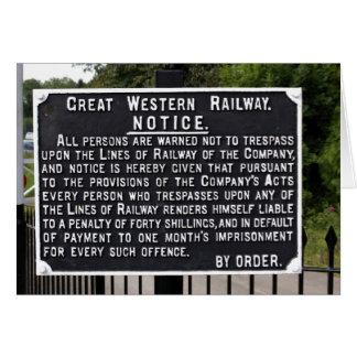 Vintage GWR Notice Card