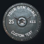 """Vintage Gym Owner or User Fitness Funny Large Clock<br><div class=""""desc"""">Vintage Gym Owner or User Fitness Funny dark gray rusty round weightplate image with custom curved gym name text - perfect gift for those love workout,  fitness and bodybuilding,  or just like to spend time in gymnasium</div>"""