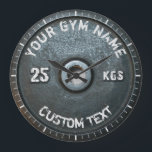 "Vintage Gym Owner or User Fitness Funny Large Clock<br><div class=""desc"">Vintage Gym Owner or User Fitness Funny dark gray rusty round weightplate image with custom curved gym name text - perfect gift for those love workout,  fitness and bodybuilding,  or just like to spend time in gymnasium</div>"