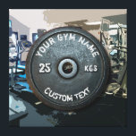 """Vintage Gym Owner or User With Fitness Funny Canvas Print<br><div class=""""desc"""">Vintage Gym Owner or User With Fitness Funny dark gray rusty round weightplate image with custom curved gym name text - perfect gift for those love workout,  fitness and bodybuilding,  or just like to spend time in gymnasium</div>"""