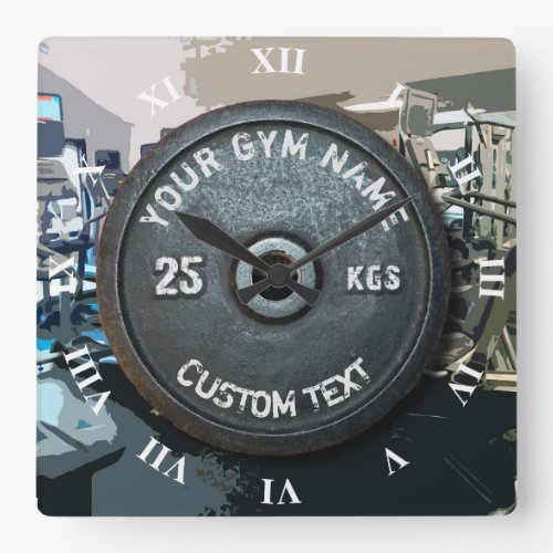 Vintage Gym Owner or User With Fitness Funny Square Wall Clock