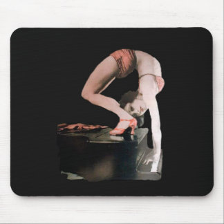 Vintage gymnast contortionist pinup girl on piano mouse pad