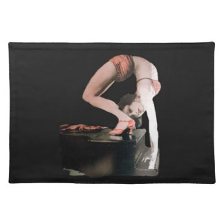 Vintage gymnast contortionist pinup girl on piano placemats