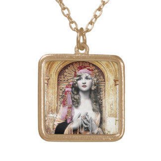 Vintage Gypsy, altered art gypsy pendant and chain