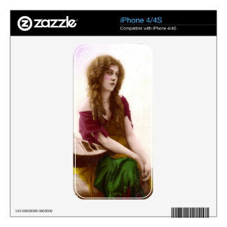 Vintage Gypsy Gal Color Tinted Photo in Purple iPhone 4S Decal