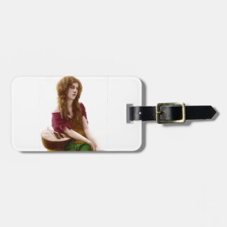 Vintage Gypsy Gal Color Tinted Photo in Purple Luggage Tag