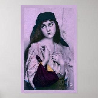 Vintage Gypsy Girl in Violet Print