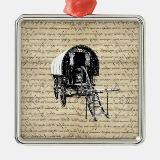 Vintage Gypsy wagon Metal Ornament