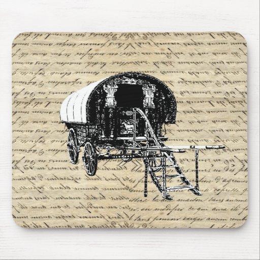Vintage Gypsy wagon Mousepads