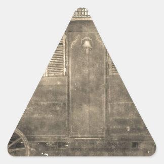 Vintage Gypsy Wagon Triangle Sticker