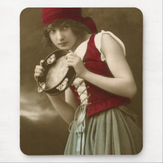 Vintage Gypsy with Tambourine Mouse Pad