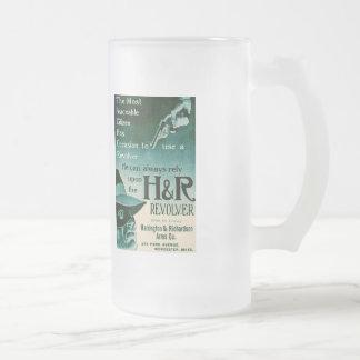 Vintage H&R Revolver Gun Ad Beer Stein Mug Green