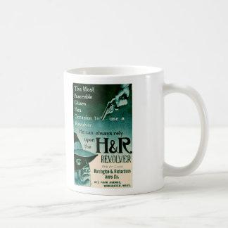 Vintage H&R Revolver Gun Ad Green Coffee Mug