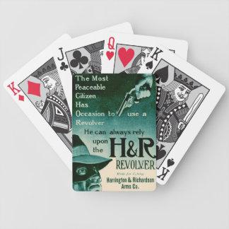 Vintage H&R Revolver Gun Ad Green Playing Cards