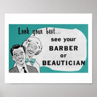 Vintage Hair Salon Art Beautician Print in Aqua