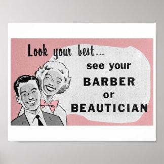 Vintage Hair Salon Art Beautician Print in Pink