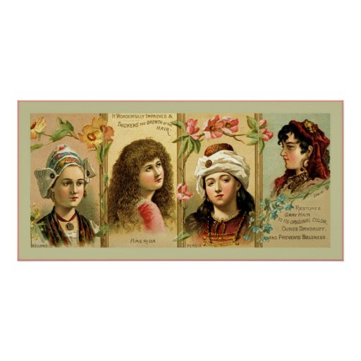 Vintage Hair Tonic Advertising Label ~ 1830-1870 Posters
