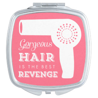 Vintage Hairdryer Mirror Compact - pink Compact Mirror