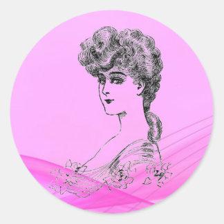 Vintage Hairstyle Classic Round Sticker
