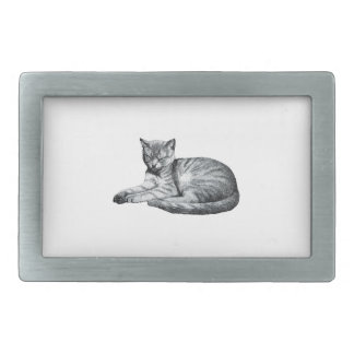 vintage half asleep cat animal sketch rectangular belt buckle
