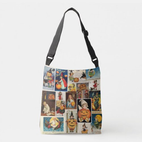 Vintage Halloween 100 Year Old Postcards Witches Crossbody Bag