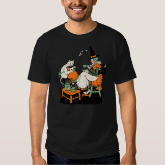 Vintage Halloween 1930s Witch and Cat Tea Party T Shirt