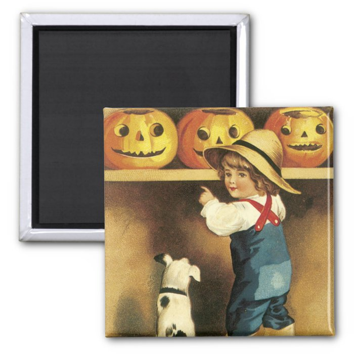 Vintage Halloween 2 Inch Square Magnet