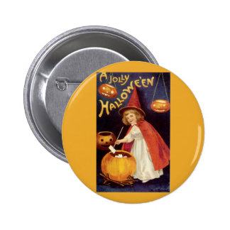 Vintage Halloween, A Cute Girl Witch with Letters 2 Inch Round Button
