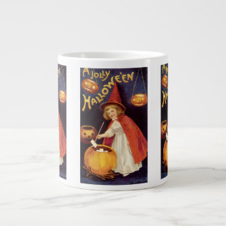 Vintage Halloween, A Cute Girl Witch with Letters Giant Coffee Mug