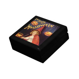 Vintage Halloween, A Cute Girl Witch with Letters Gift Box
