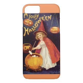 Vintage Halloween, A Cute Girl Witch with Letters iPhone 8/7 Case