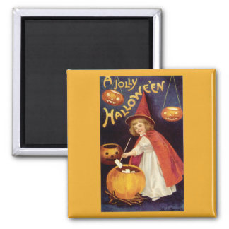 Vintage Halloween, A Cute Girl Witch with Letters Magnet