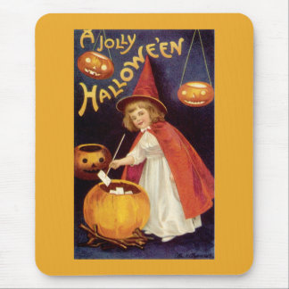 Vintage Halloween, A Cute Girl Witch with Letters Mouse Pad
