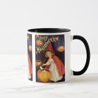 Vintage Halloween, A Cute Girl Witch with Letters Mug