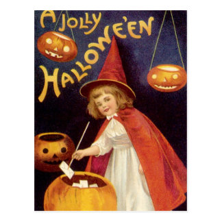 Vintage Halloween, A Cute Girl Witch with Letters Postcard