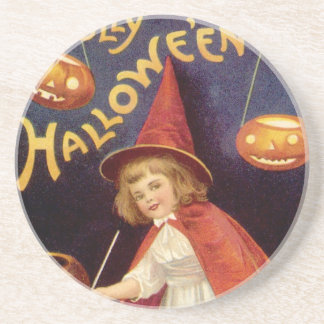 Vintage Halloween, A Cute Girl Witch with Letters Sandstone Coaster