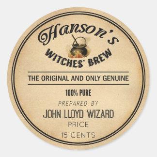Vintage Halloween Apothecary Witches Brew Cauldron Classic Round Sticker