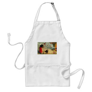 Vintage Halloween Art - Cat meets the Witch ! Adult Apron