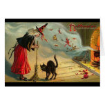 Vintage Halloween Art - Cat meets the Witch ! Greeting Cards