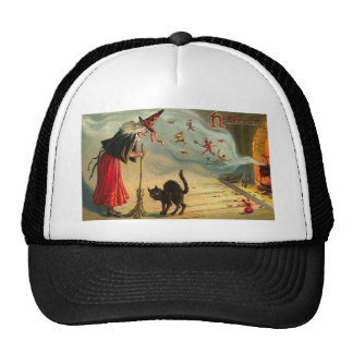 Vintage Halloween Art - Cat meets the Witch ! Hats