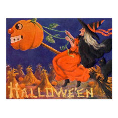 Vintage Halloween Art Postcard at Zazzle