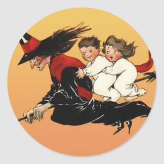 Vintage Halloween Art Stickers : Witches Ride