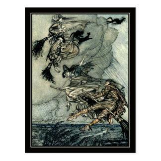 Vintage Halloween Arthur Rackham Flying Witches Postcard